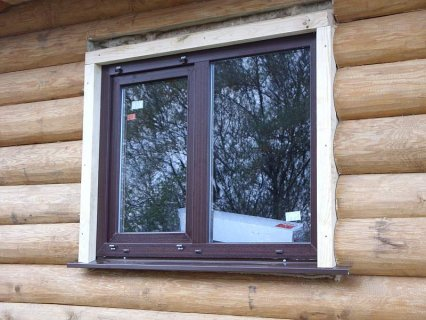 Установка окон в деревянном